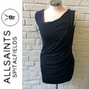All Saints black asymmetrical neck shirred dress M